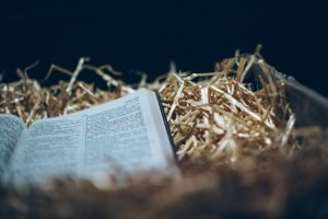 Bible resting on hay of manger